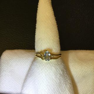アクアマリン 指輪 K18 イエローゴールド 10号(リング(指輪))