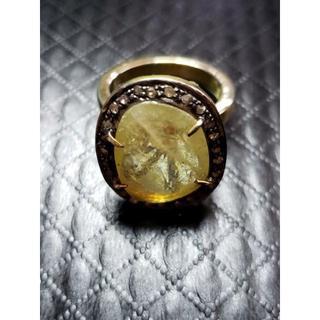 パパラチアサファイア イエローサファイア リング 約7ct+天然ダイヤ(リング(指輪))