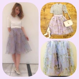 ダズリン(dazzlin)のdazzlin♡花柄オーガンジースカート(ひざ丈スカート)