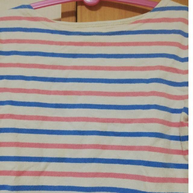 BEAMS(ビームス)の値下げ⭐ビームスミニ ボーダー七分丈シャツ キッズ/ベビー/マタニティのキッズ服 女の子用(90cm~)(Tシャツ/カットソー)の商品写真