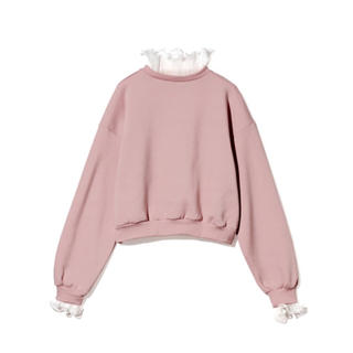 グレイル(GRL)のGRL ネックスリーブフリルスエットトップス ピンク 秋 冬 韓国ファッション(トレーナー/スウェット)