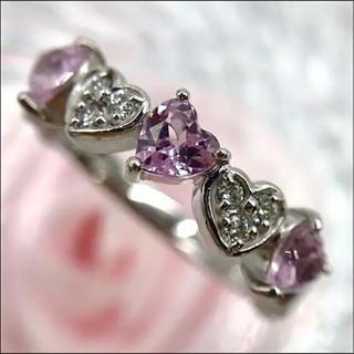 K18WG 4℃ ピンクサファイア ダイヤモンド ハート リング 10号(リング(指輪))