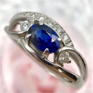 K18WG サファイア 0.63ct ダイヤモンド デザイン リング 13号(リング(指輪))