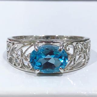 K10WG ブルートパーズ ダイヤモンド 透かしリング(リング(指輪))