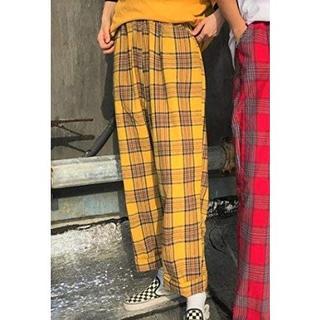 NSHOP チェックパンツ 韓国 ストリート レトロ 男女兼用 オルチャン(カジュアルパンツ)