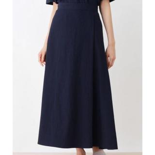 ハッシュアッシュ(HusHush)の美品 HUSHUSH リネン風フィッシュテールスカート 紺色 M(ロングスカート)