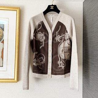 エルメス(Hermes)の極美品 エルメス カシミヤ シルク スカーフ カーディガン ジャケット(カーディガン)