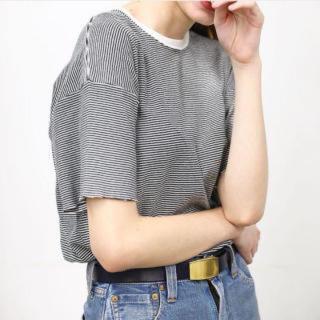ヤエカ(YAECA)の LENO&CO BORDER TEE 黒白(Tシャツ(半袖/袖なし))