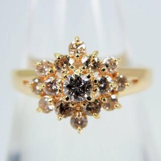 K18 ダイヤモンド ライトブラウン リング 9.5号[g87-10](リング(指輪))