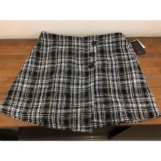 最終お値下げ!3L  ブラウンチェックスカート ♡新品タグ付き(ミニスカート)