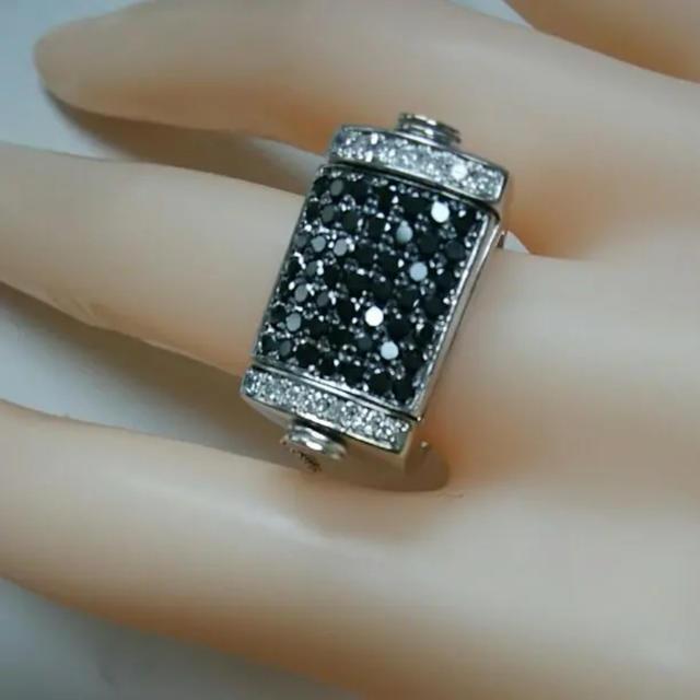 ダイヤ、2.11ct  リング、ホワイト&ブラック レディースのアクセサリー(リング(指輪))の商品写真