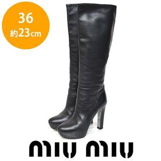 ミュウミュウ(miumiu)のミュウミュウ グリッターソール ロングブーツ 36(約23cm)(ブーツ)