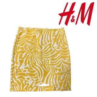 エイチアンドエム(H&M)の【まとめ割有】H&M ジャガード ラップスカート イエロー(ミニスカート)