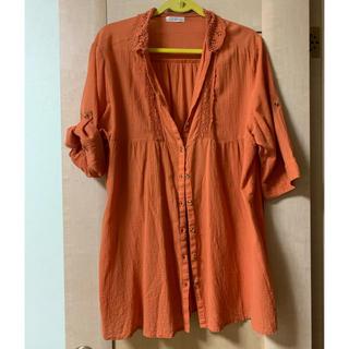コットン100% オレンジ シャツ(カットソー(半袖/袖なし))