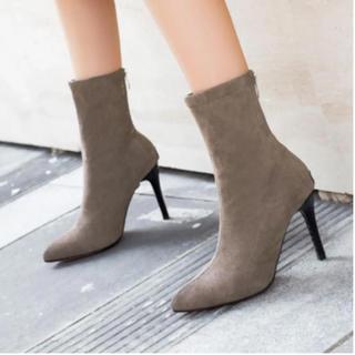 ジェイダ(GYDA)の新作❤綺麗ライン ソックスブーツ  23 ショートブーツ カーキブラウン(ブーツ)