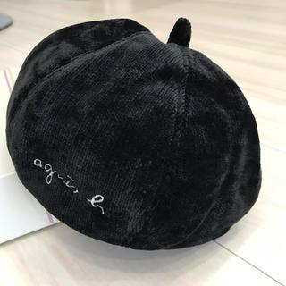 アニエスベー(agnes b.)の新品☆アニエス ベー★レディース ベレー☆ブラック コーデュロイ★ベレー帽(ハンチング/ベレー帽)