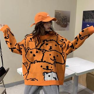 ザラ(ZARA)の132 【大人気⭐】ゆるキャラ オレンジ ゆったり ニット  セーター(ニット/セーター)