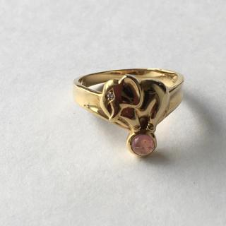 18金リング  ボールに乗った象さん ゴールド リング ダイヤ 指輪(リング(指輪))