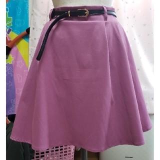 しまむら - ベルトつきスカート パープル L