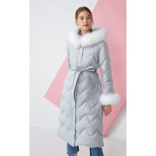 2019秋と冬の新しいキツネの毛皮フード付きレースロングダウンジャケット女性| (タンクトップ)