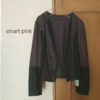 アンタイトル(UNTITLED)の【新品】smart pink ジャケット レディース ブラウン L(ノーカラージャケット)