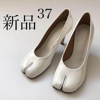 マルタンマルジェラ(Maison Martin Margiela)の新品 メゾン マルジェラ 足袋 タビ エナメル パンプス ホワイト/37(ハイヒール/パンプス)