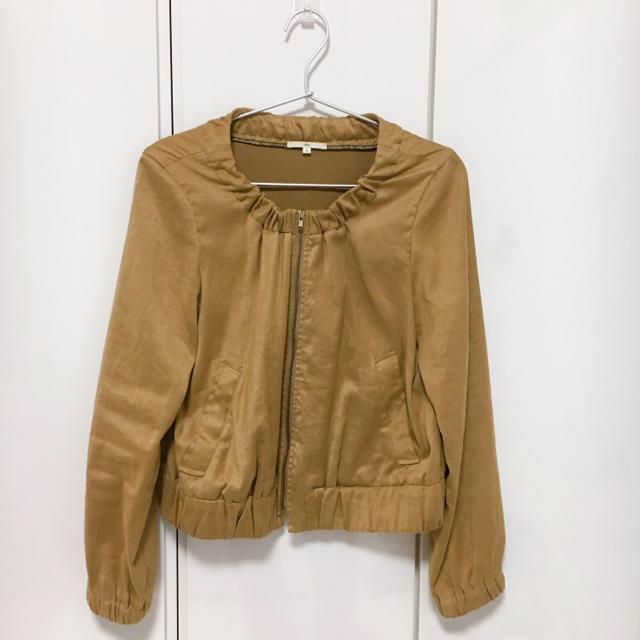 SHIPS(シップス)のSHIPS☆ノーカラーベロア風ブルゾン M レディースのジャケット/アウター(ノーカラージャケット)の商品写真