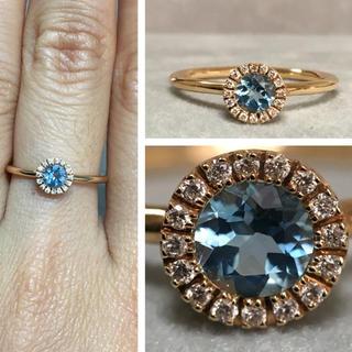 K18PG ブルートパーズとダイヤモンドのリング(リング(指輪))