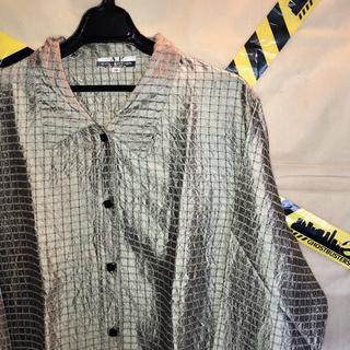 チェック 格子柄 ビッグ サテン シルク シャツ 古着 韓国系 モード(シャツ)