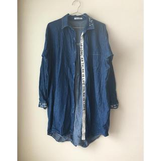 スタイルナンダ(STYLENANDA)のゆったりサイズ感 ❤︎ ボーイフレンド ぶかぶかデニムシャツ 韓国ファッション(ひざ丈ワンピース)