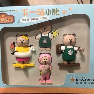 スターバックスコーヒー(Starbucks Coffee)のスタバ  緑 エプロン ベアリスタ ボーイ&ガール おもちゃ ピンバッジ セット(キャラクターグッズ)