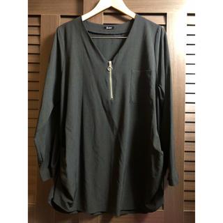 大きいサイズ ブラックシャツ カットソー  ブラウス(カットソー(長袖/七分))