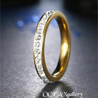 送料無料訳あり 19号 ゴールドステンレススーパーCZフルエタニティリング指輪(リング(指輪))
