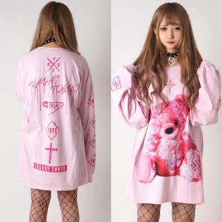 フーガ(FUGA)のTRAVAS TOKYO FURRY BEAR くまビッグTシャツ ピンク 新品(Tシャツ/カットソー(七分/長袖))