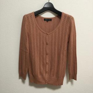 ミッシュマッシュ(MISCH MASCH)のミッシュマッシュ38 かぎ針編み風レース七分袖カーディガン ピンクブラウン(カーディガン)