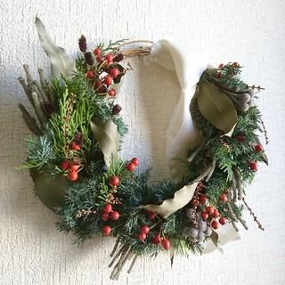 w №12 ヒムロスギのクリスマスハーフリース(リース)