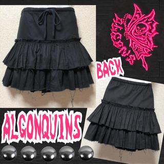 アルゴンキン(ALGONQUINS)の【ALGONQUINS】バタフライ刺繍入カットオフ2段フリルミニ(ミニスカート)