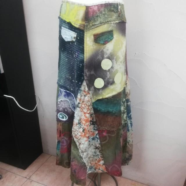 EL RODEO(エルロデオ)のエルロデオ EL RODEO ロングスカート パッチワーク タイダイ ツギハギ レディースのスカート(ロングスカート)の商品写真