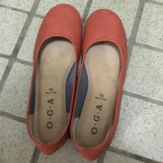 パンプス ぺたんこパンプス オレンジ(ハイヒール/パンプス)