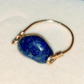大粒 天然ラピスラズリAAAのワイヤーリング 16号(リング(指輪))