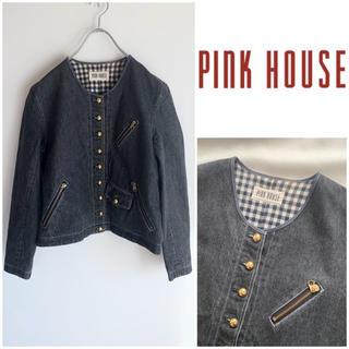 ピンクハウス(PINK HOUSE)のPINK HOUSE 金釦 ノーカラー Gジャン ブラックデニム 裏地チェック柄(Gジャン/デニムジャケット)