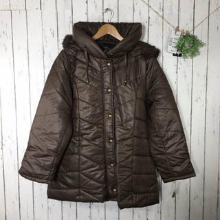 新品3L 大きいサイズ リアルラビットファー 中綿コート モカブラウン(毛皮/ファーコート)