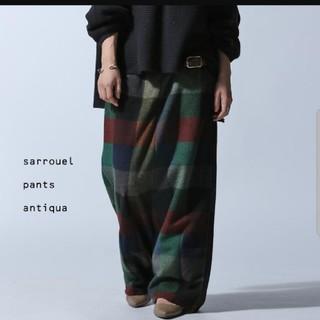 アンティカ(antiqua)の新品アンティカantiqua・起毛ブロックチェックワイドサルエルパンツ(サルエルパンツ)