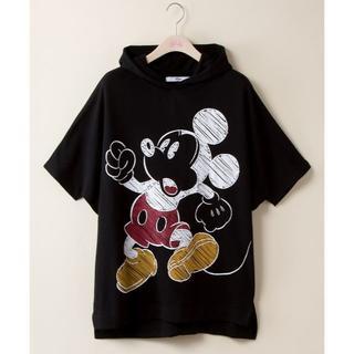 ミッキーマウス(ミッキーマウス)の送料無料★ディズニー手書き風ミッキーチュニックパーカー★黒LL♪(パーカー)