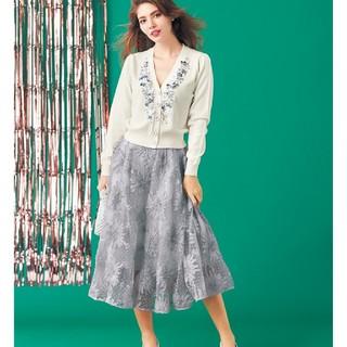 チェスティ(Chesty)のchesty チュール刺繍スカート グレー 0(ひざ丈スカート)