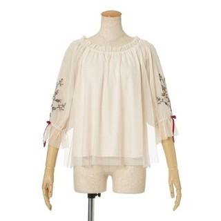 フィント(F i.n.t)の袖ローズ刺繍チュールブラウス F&A  (シャツ/ブラウス(長袖/七分))