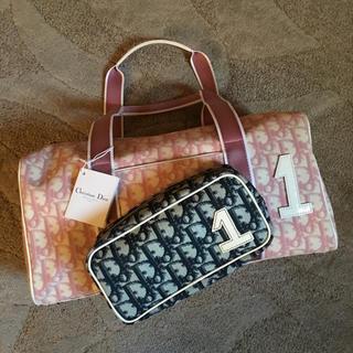 クリスチャンディオール(Christian Dior)の美品 トロッター ピンク ボストン ハンド(ボストンバッグ)