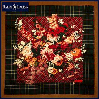 ラルフローレン(Ralph Lauren)のラルフローレン 華やかなバラとチェックの大判シルクスカーフ 絹100% 未使用品(バンダナ/スカーフ)