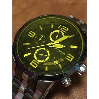 フォッシル(FOSSIL)のフォッシル クロノグラフ イエローガラス メンズ 腕時計 CH−2537 (腕時計(アナログ))