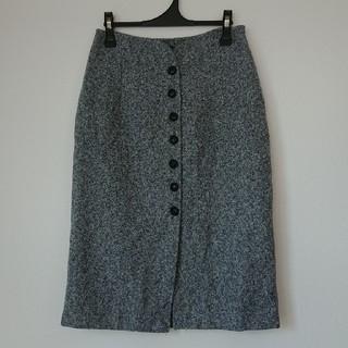 ハイウエスト スカート ツイード調 XL 13号 グレー(ひざ丈スカート)